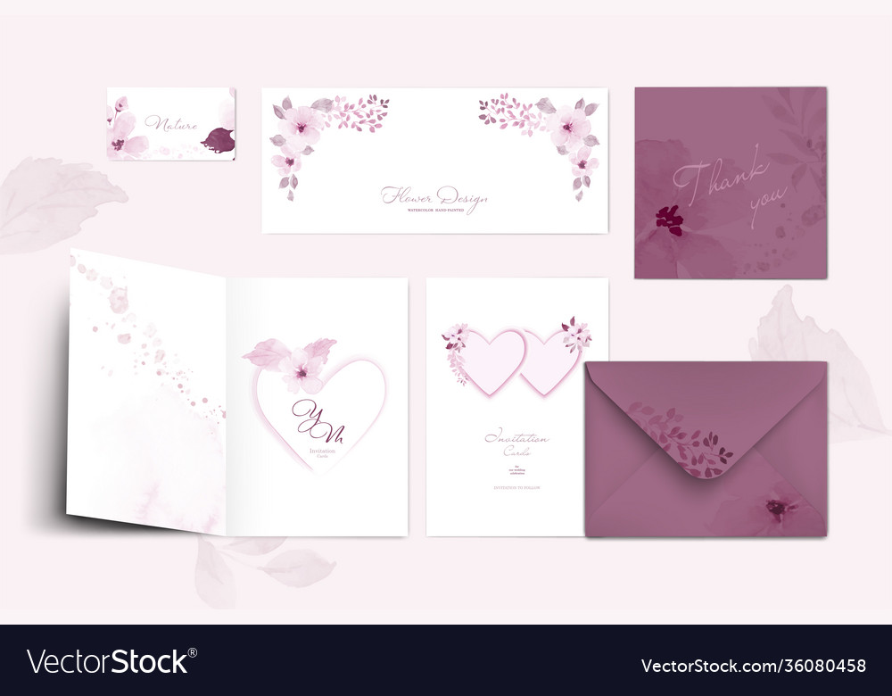 Set pastel pink card template with floral and vector