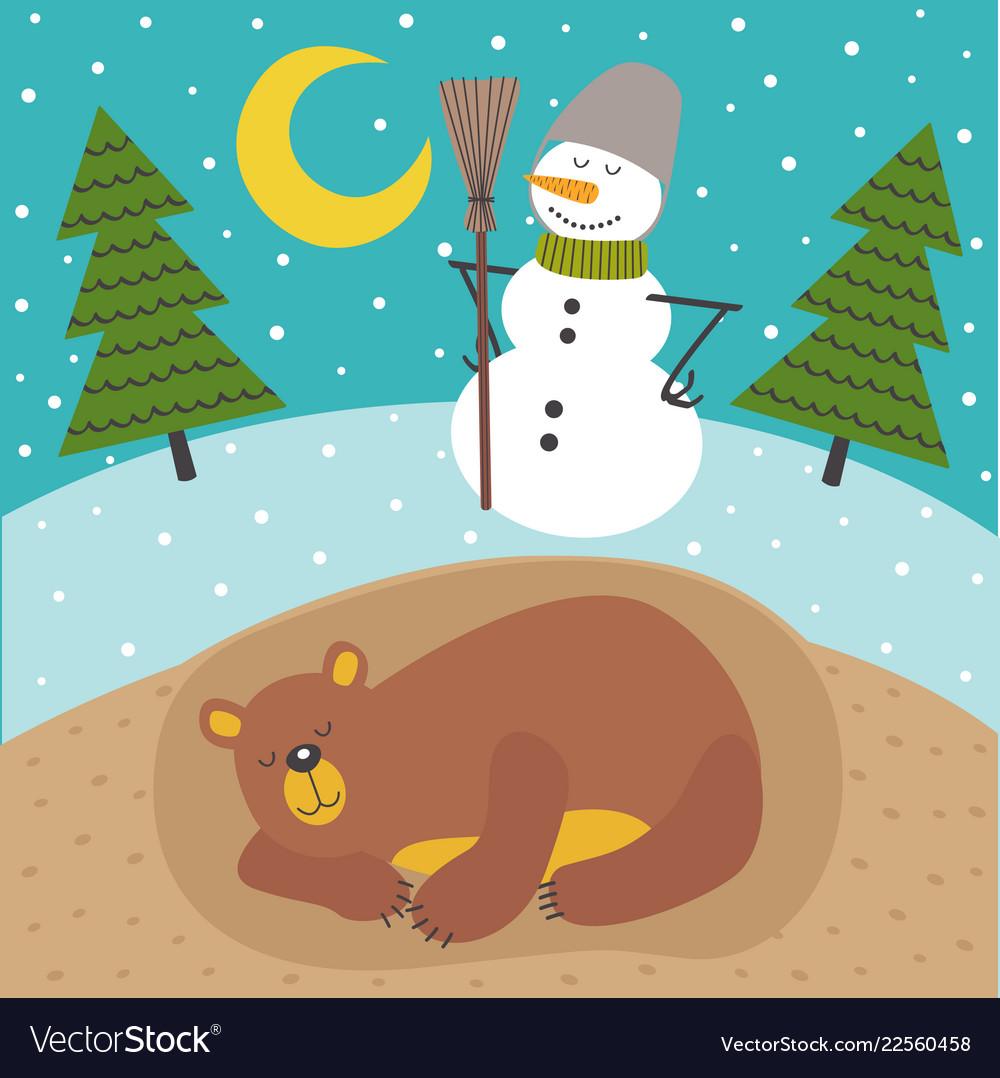 Sleeping bear in lair season outside is winter