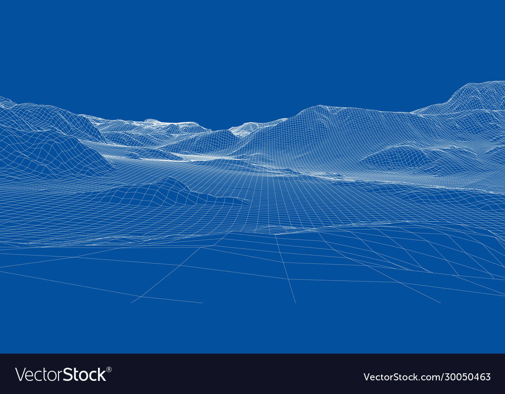 Abstract 3d wire-frame landscape blueprint style