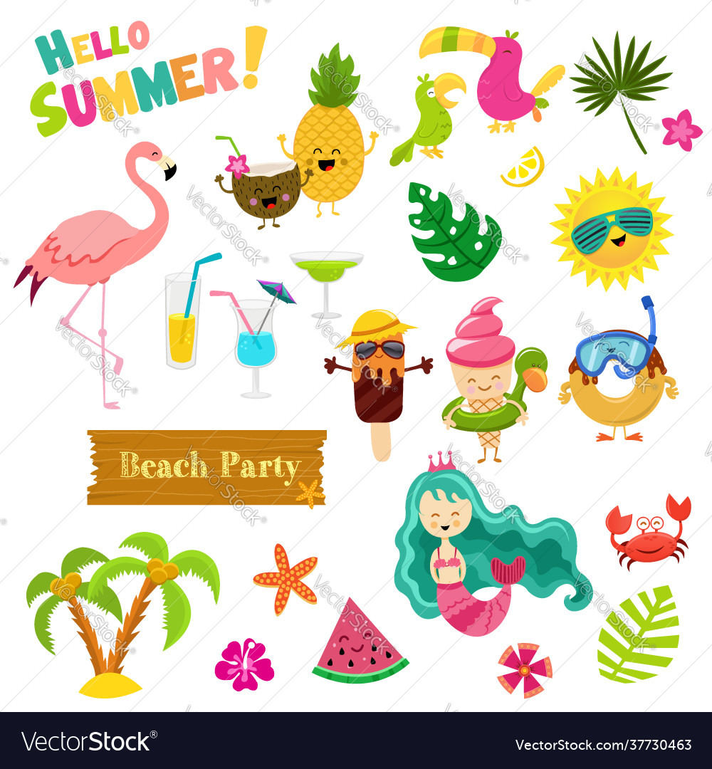 Collection cute summer characters