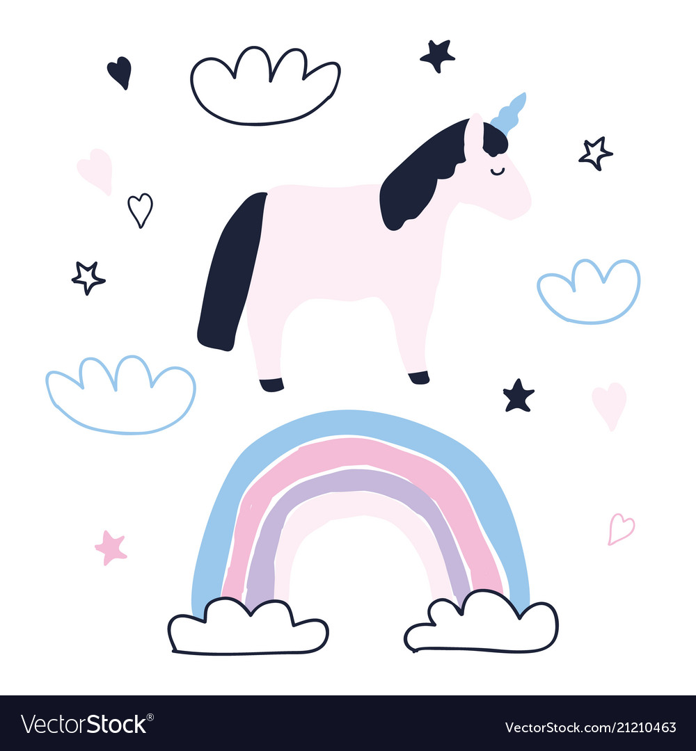 Cute unicorn character with rainbow clouds stars