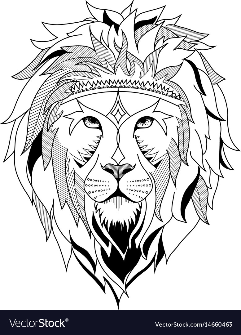 Ethnic lion for etching or tattoo design