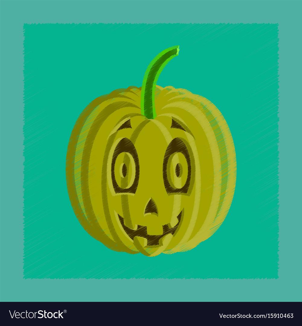 orange scary pumpkin in thin line flat style