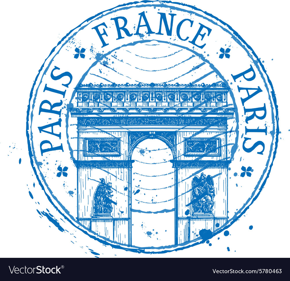 France logo design template stamp or paris