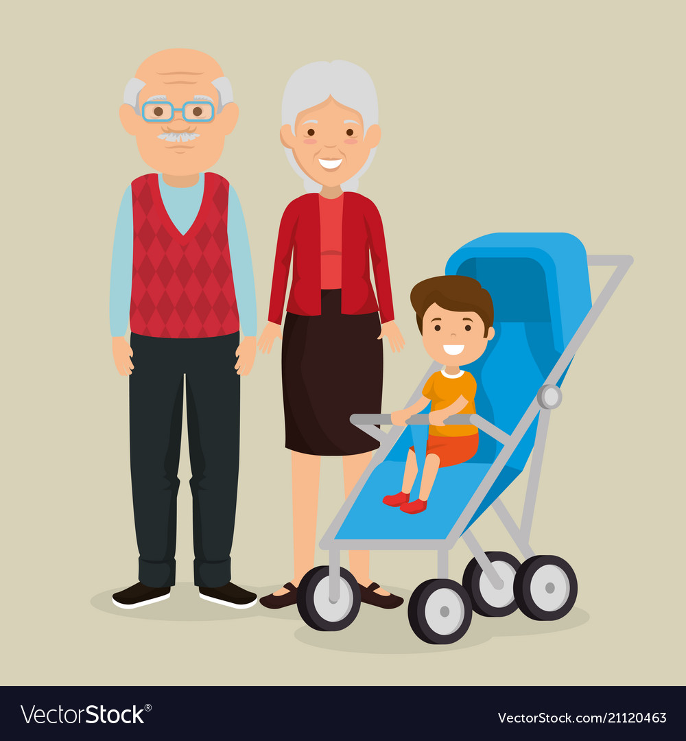 Grandparents couple with baby avatars characters