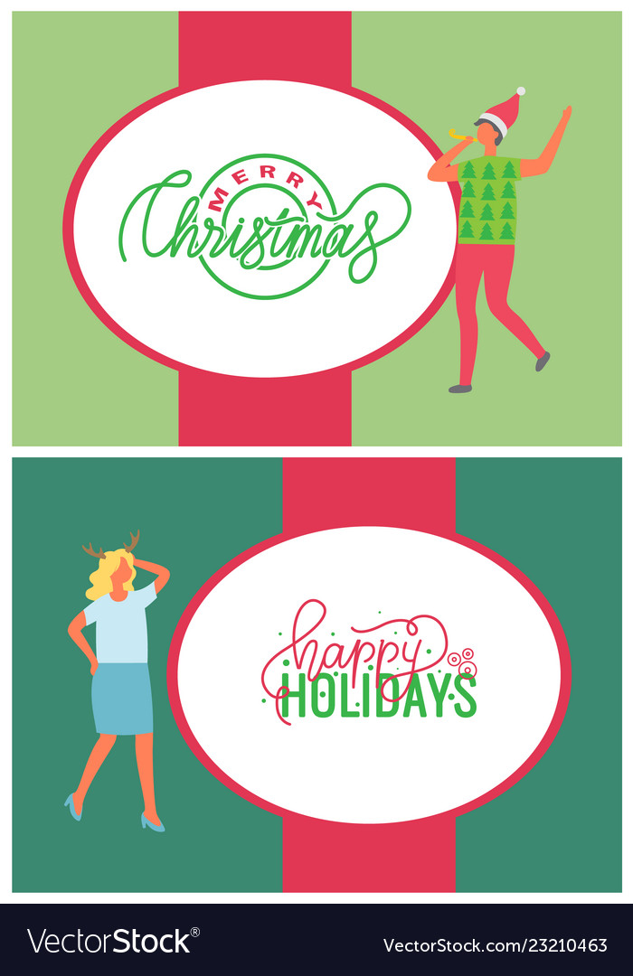 Happy holidays merry christmas greeting cards set