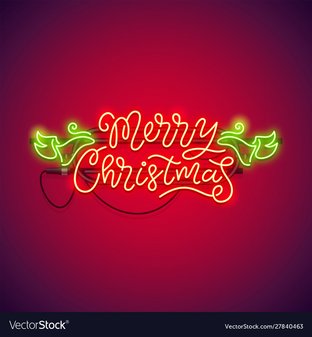 Merry christmas neon sign red