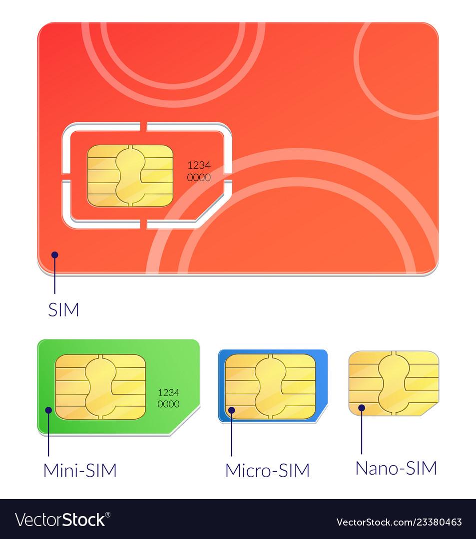 Realistic sim cards icon set
