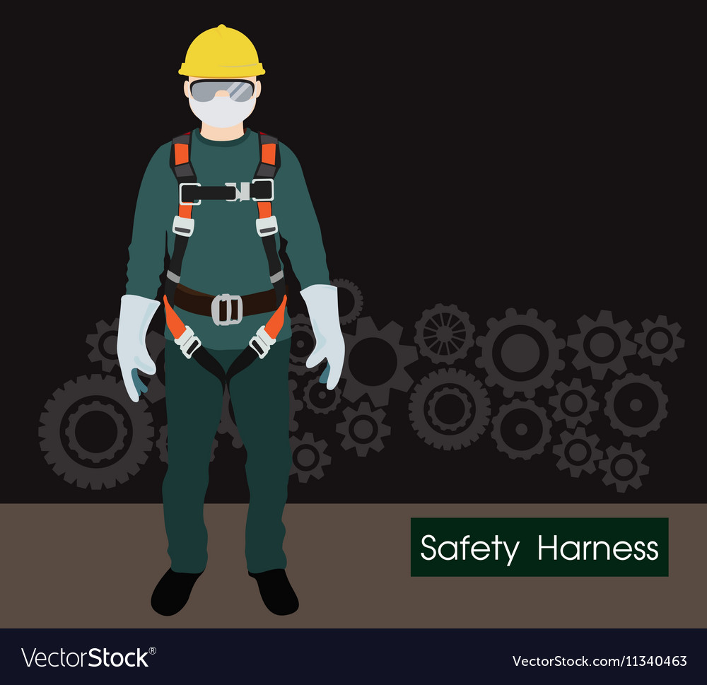 Safety harness equipt and lanyard for work at Vector Image
