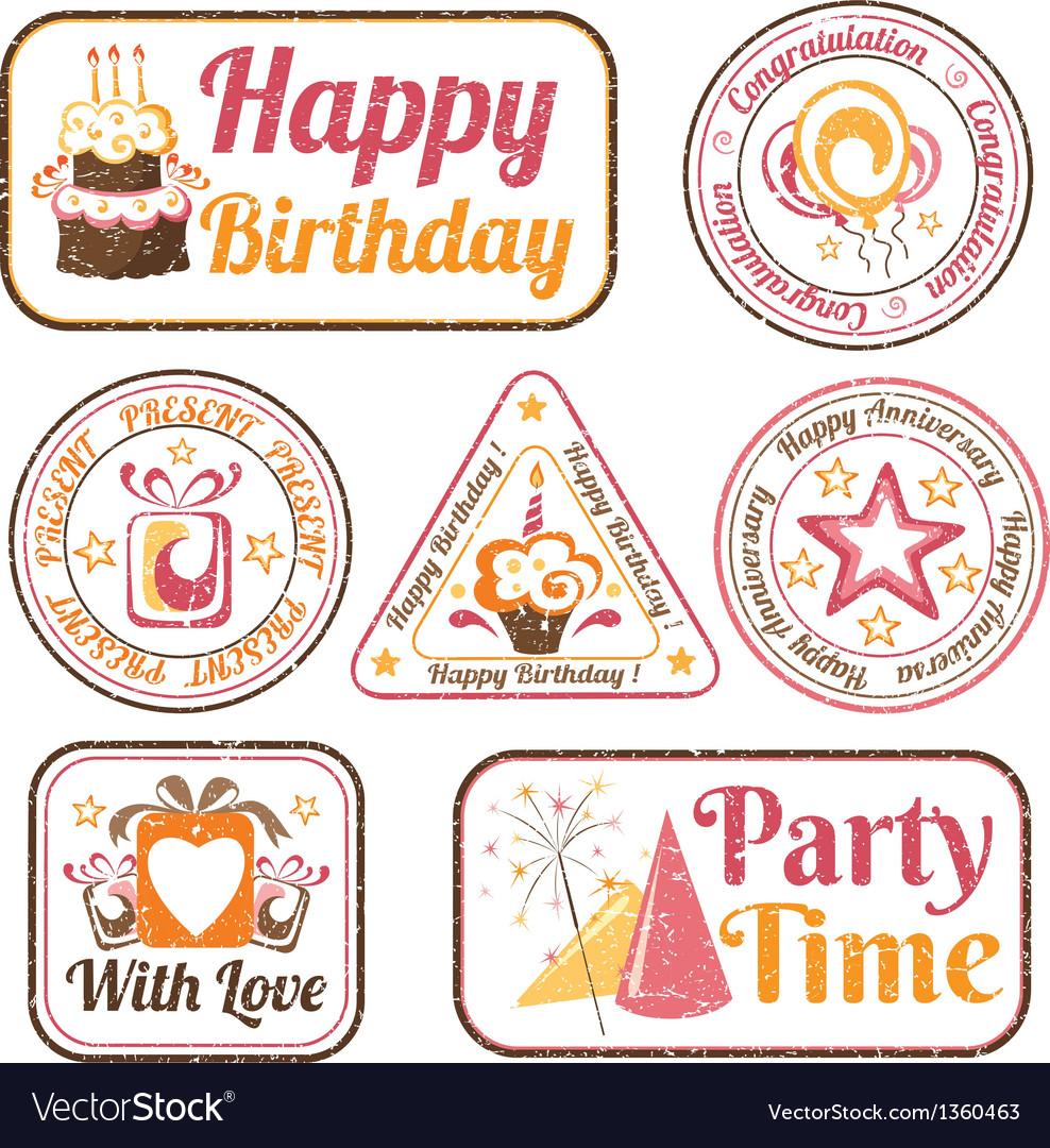 Set of celebration stamps