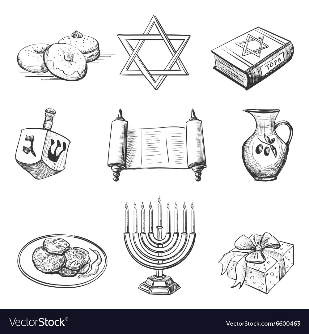 Set of element for hanukkah