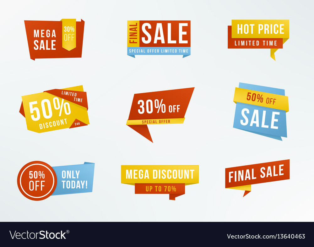 Set of promotional labels with lettering sale