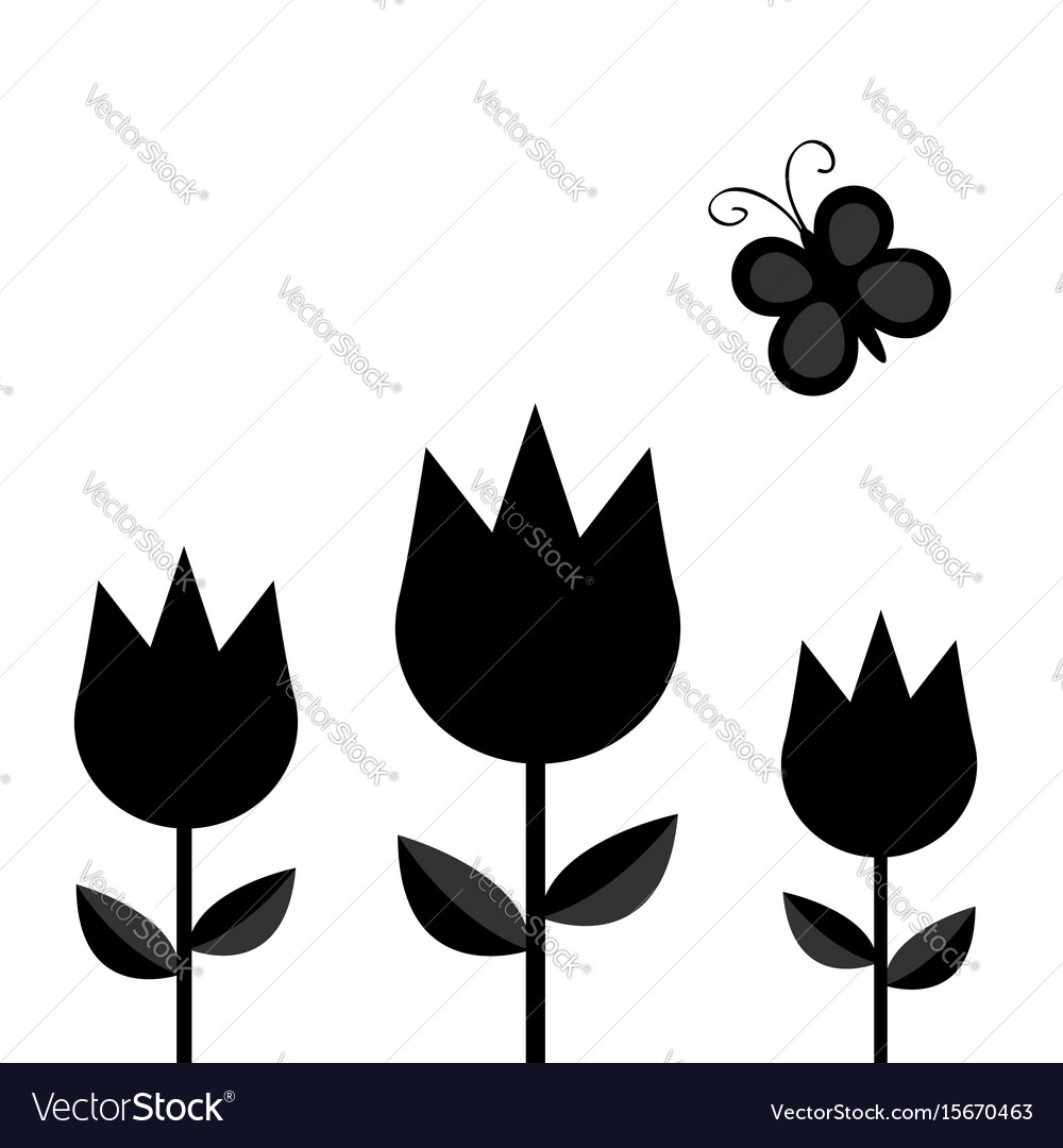 Three tulip flower set with leaf and flying