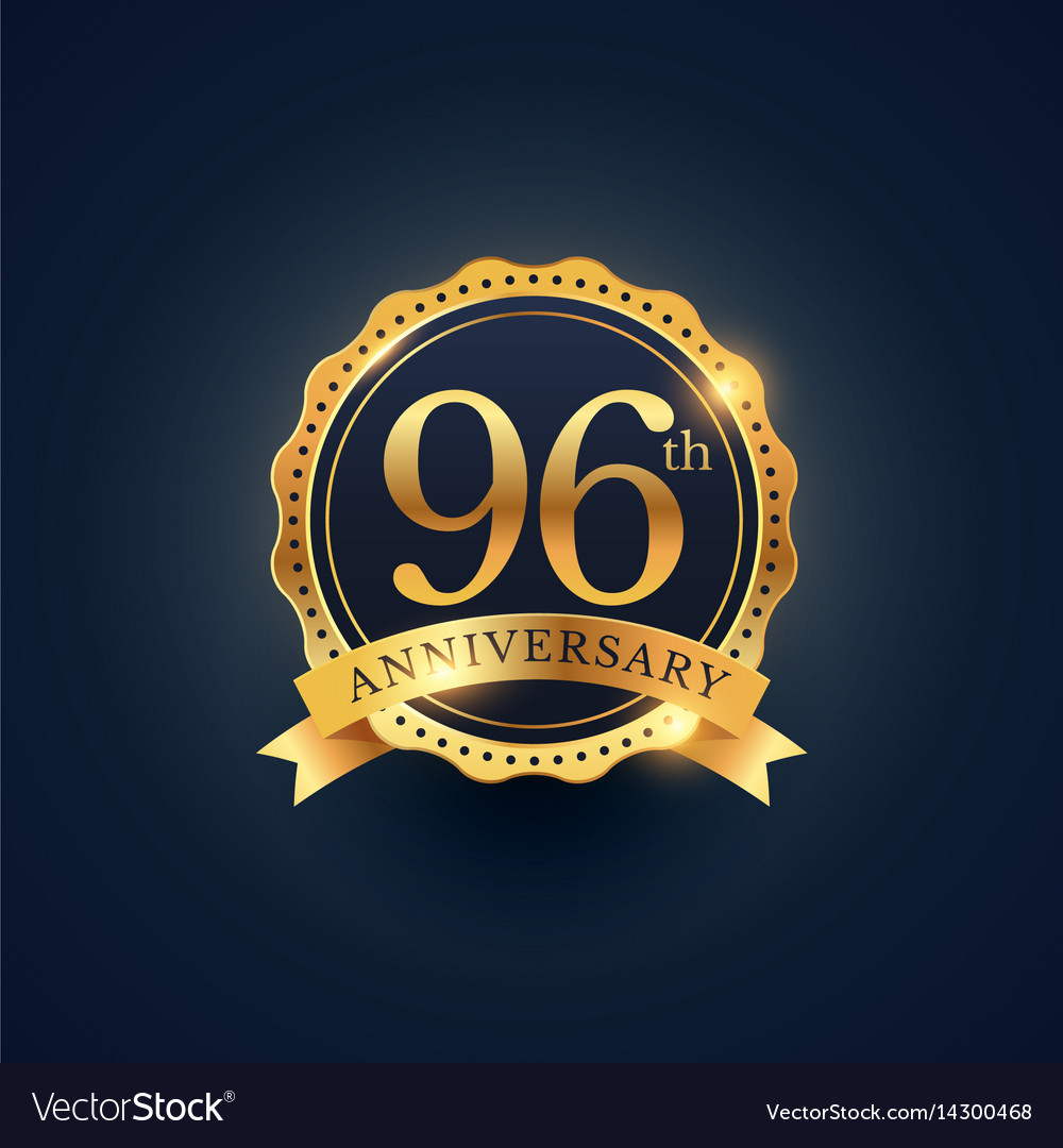 96th anniversary celebration badge label in