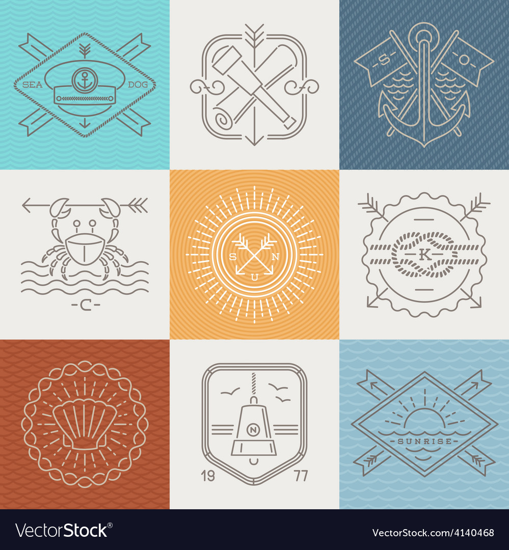 Adventures nautical and travel emblems and signs
