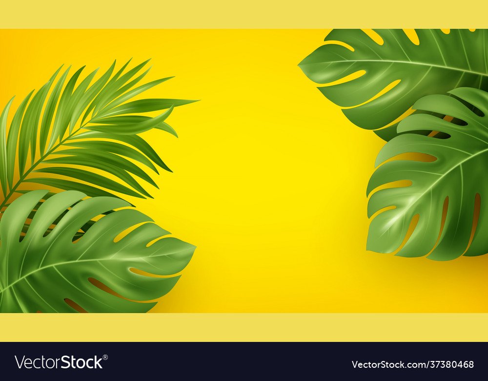 Bright yellow summer background with tropical
