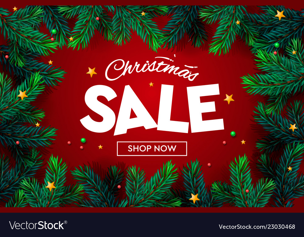 Christmas sale banner xmas sparkling lights