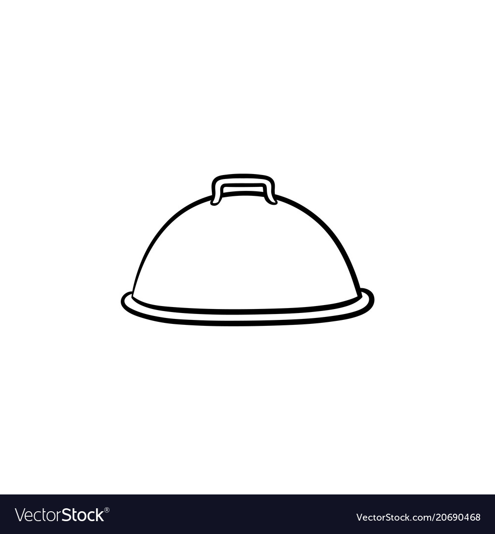 Cloche with platter for serve hand drawn icon