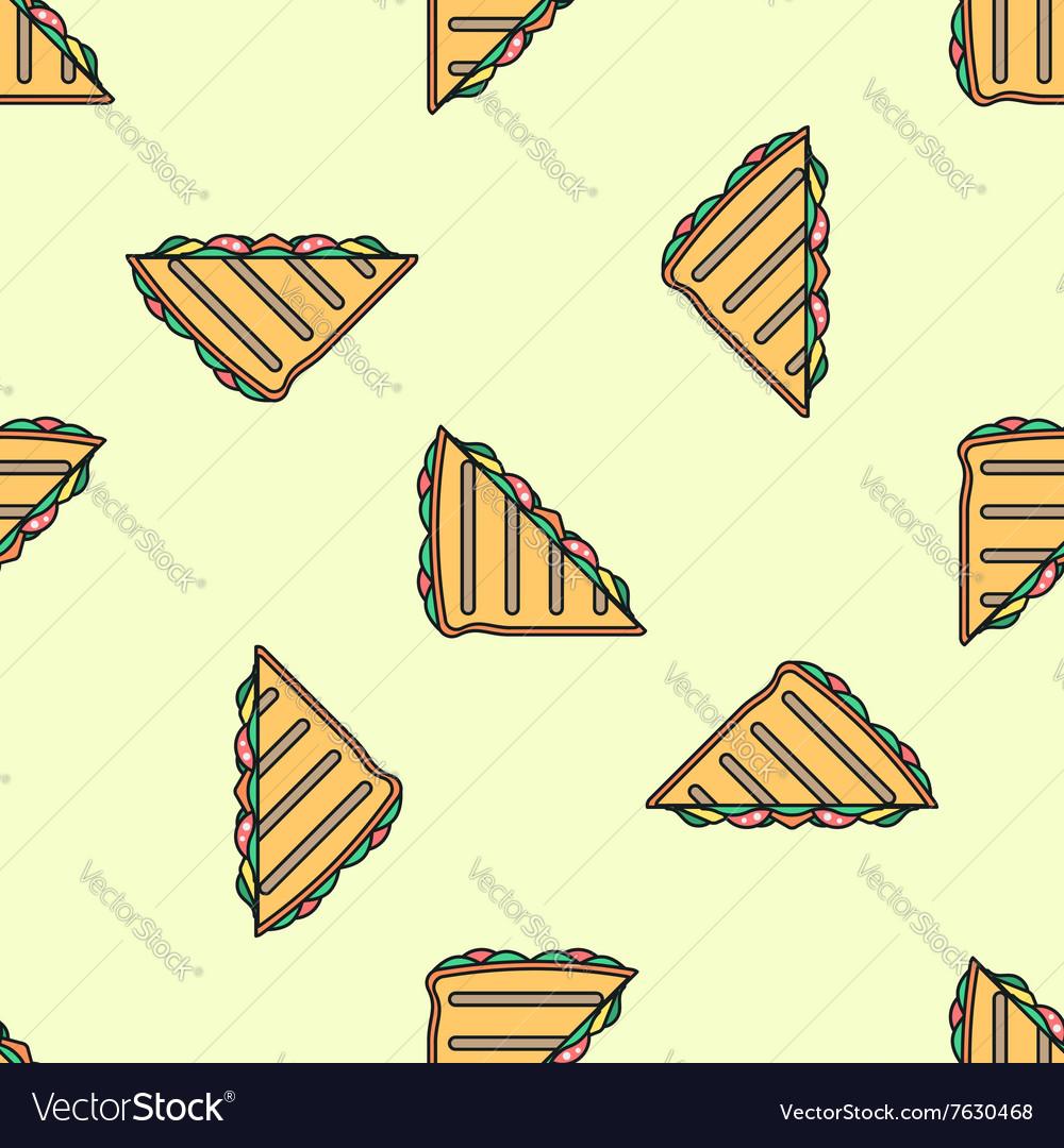 Club sandwich colored seamless pattern