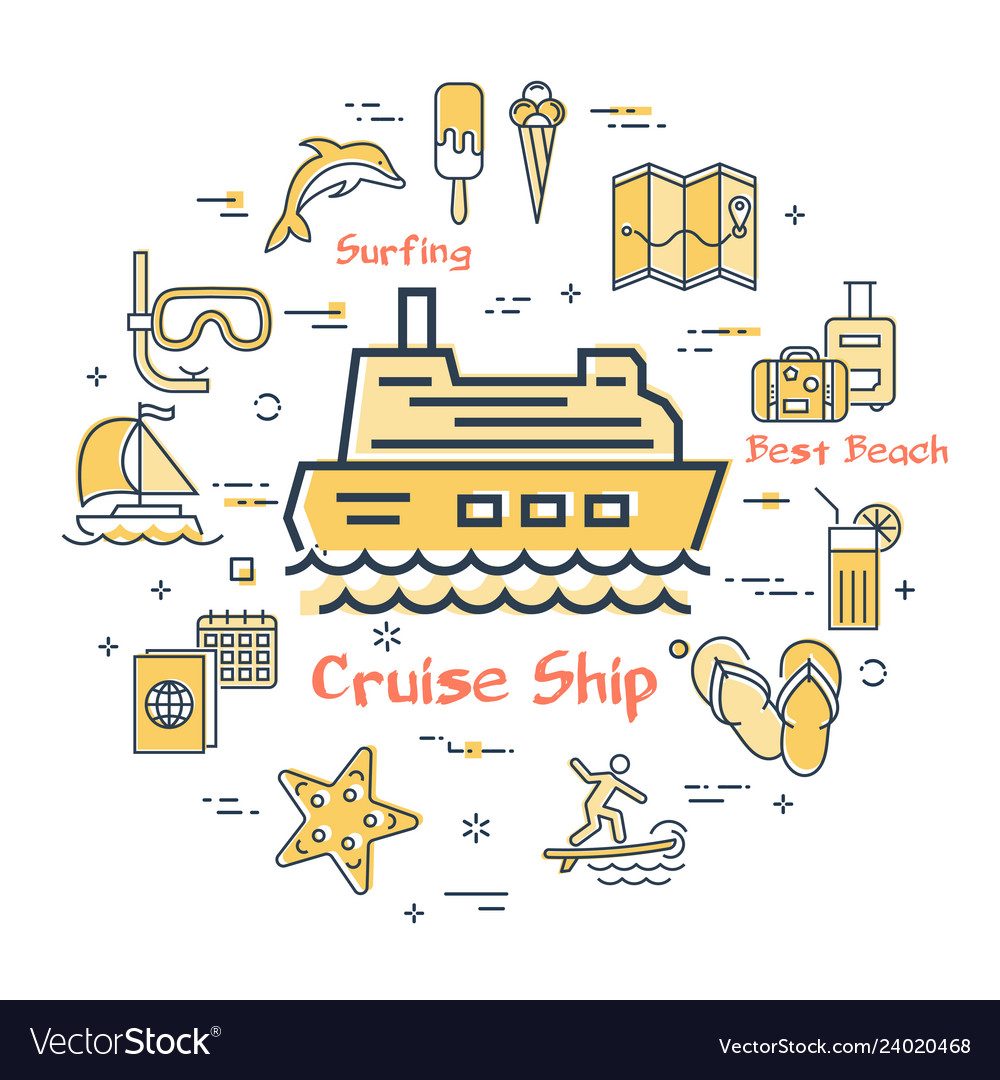 Concept of summer time with cruise ship
