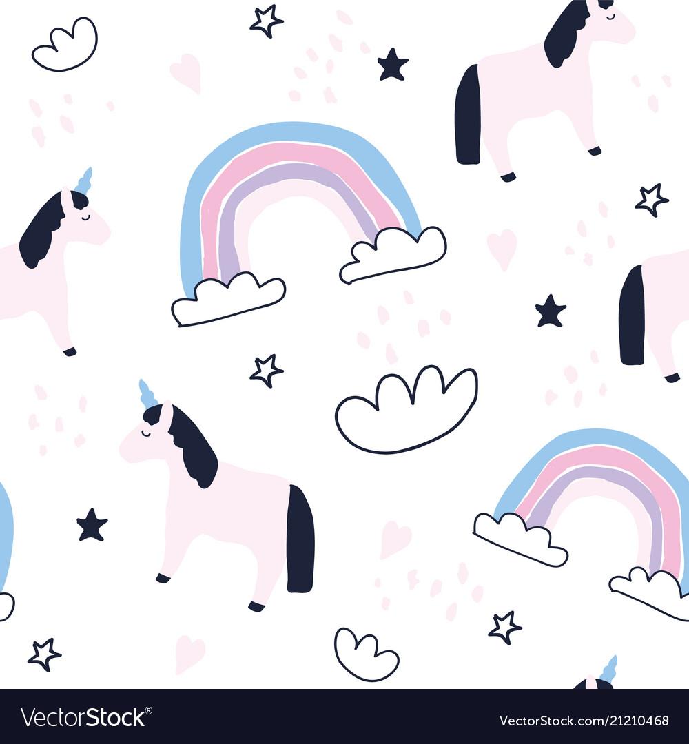 Cute unicorns and rainbows seamless pattern