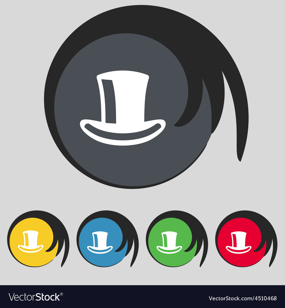 Cylinder hat icon sign Symbol on five colored