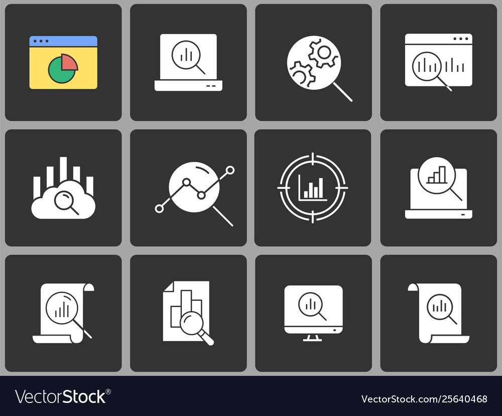 Data analysis icon set on black background