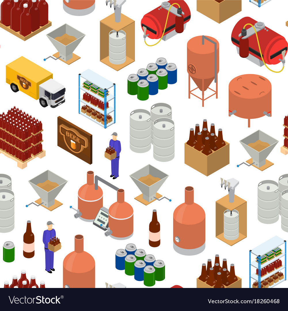 Equipment and beer production background pattern