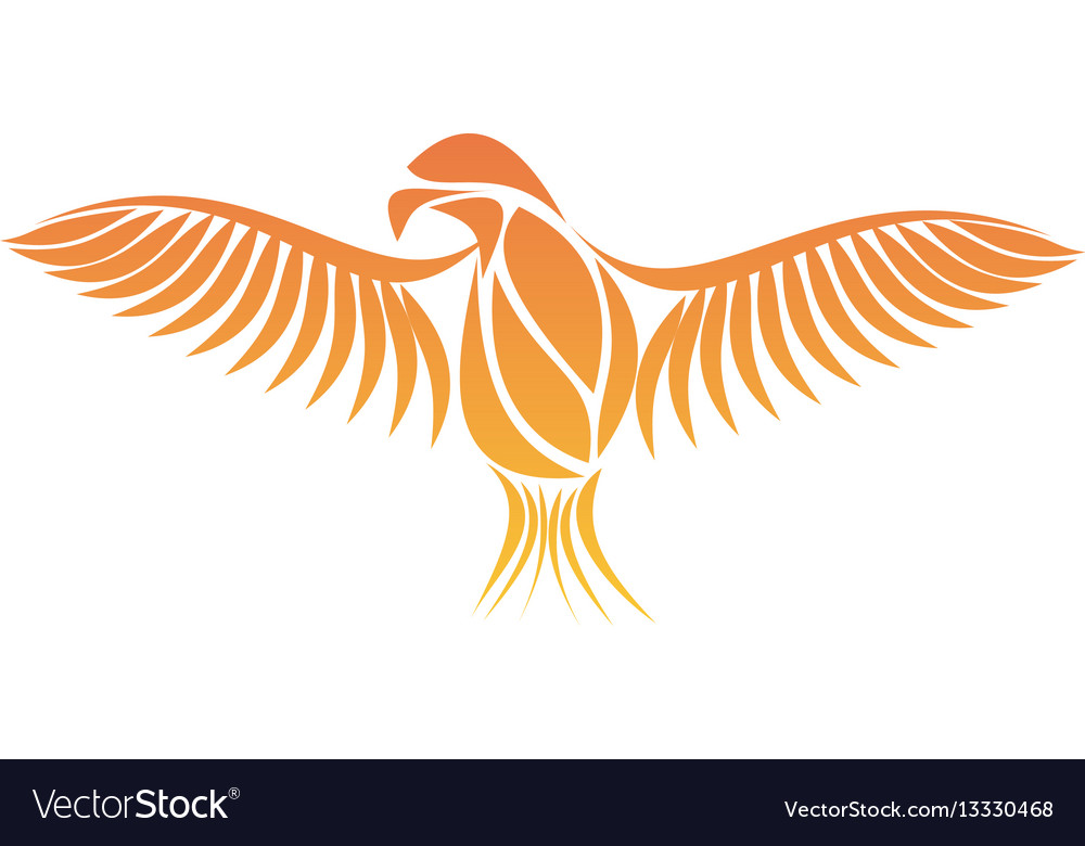 flaming phoenix bird with wide spread wings in the