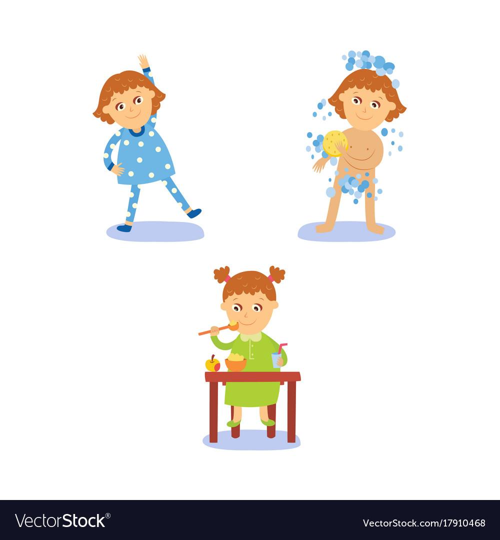 Flat cartoon kid doing routine activity set