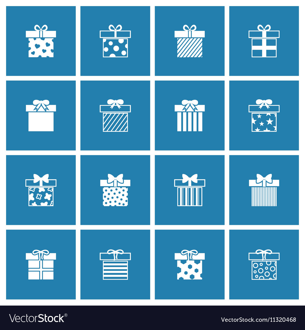 Gift boxes icons set in white blue