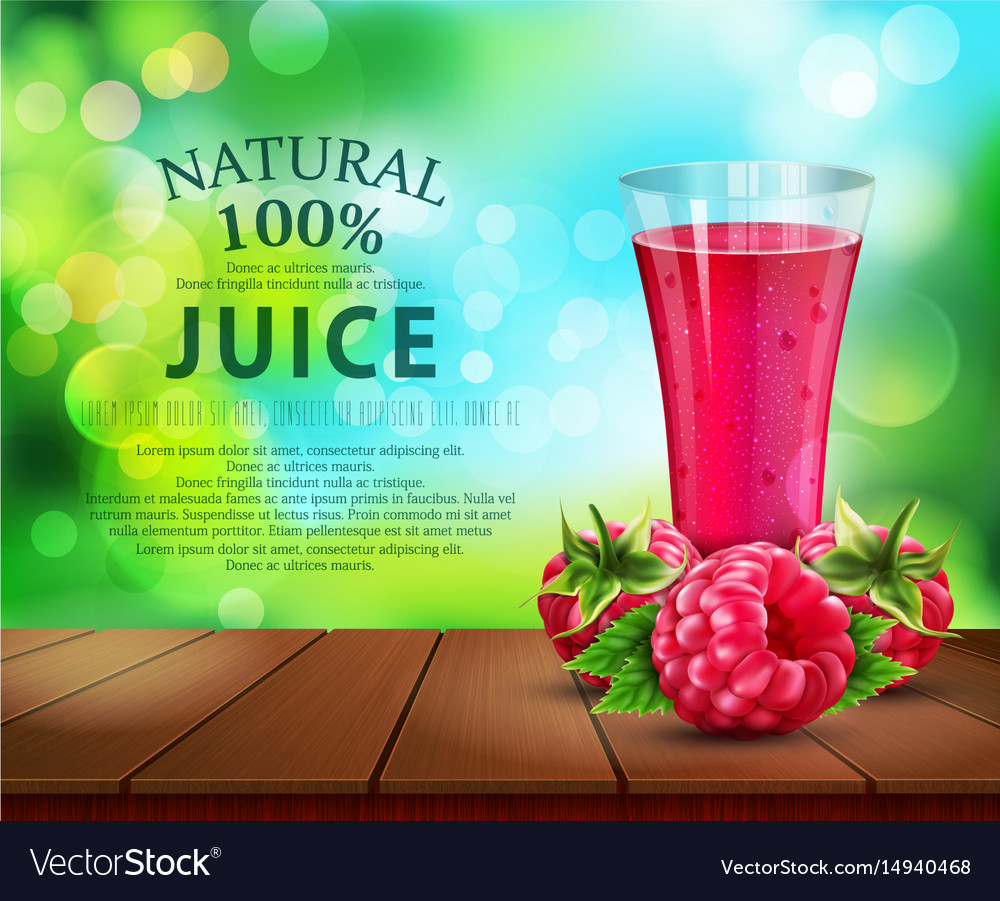 Glass cup with juice of raspberry standing on a