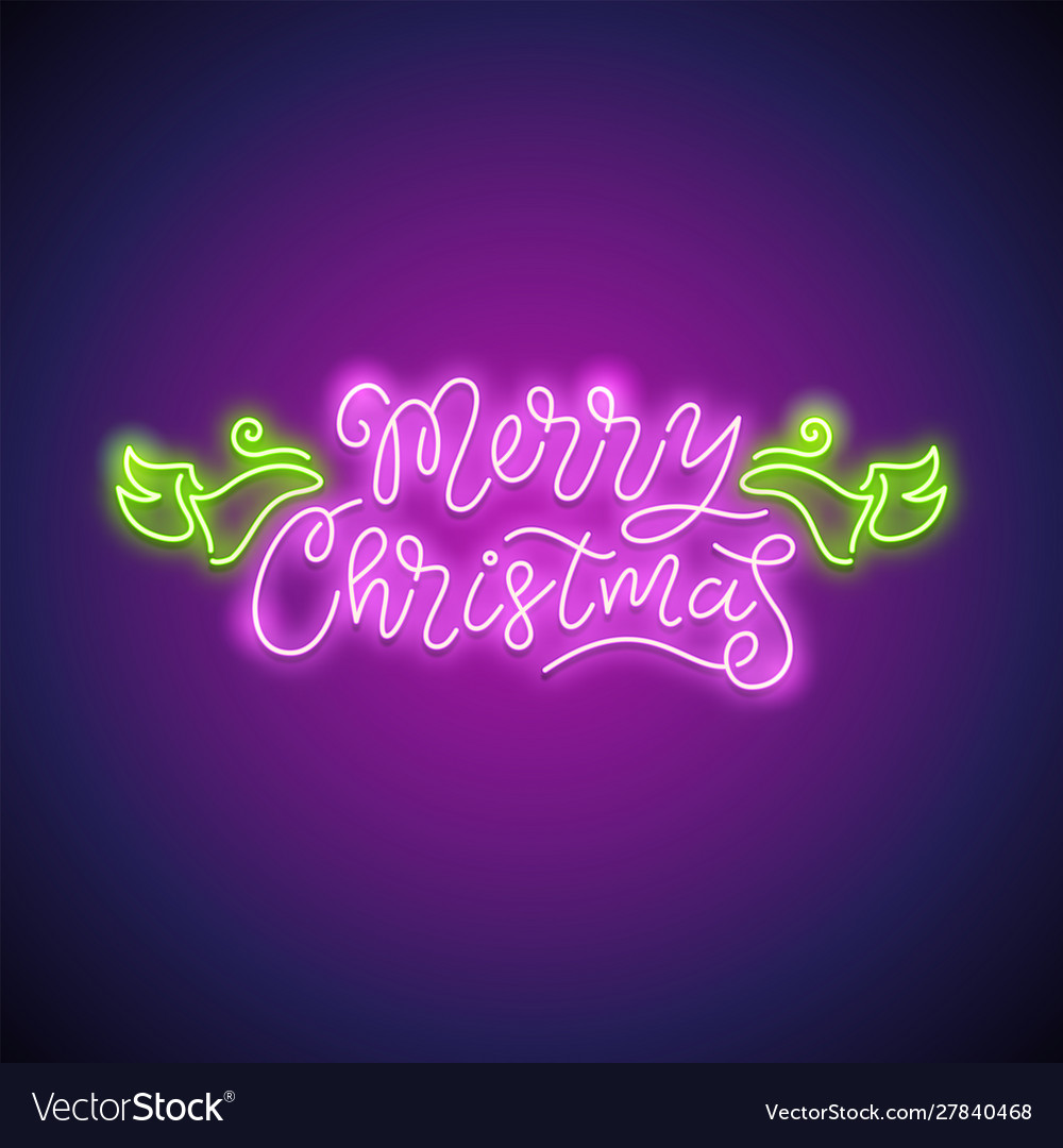 Merry christmas neon sign purple