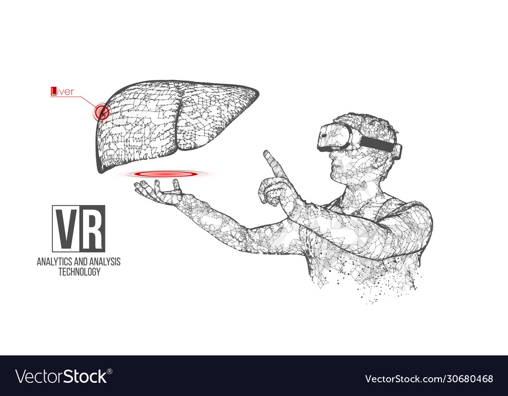 Vr wireframe headset man with liver banner
