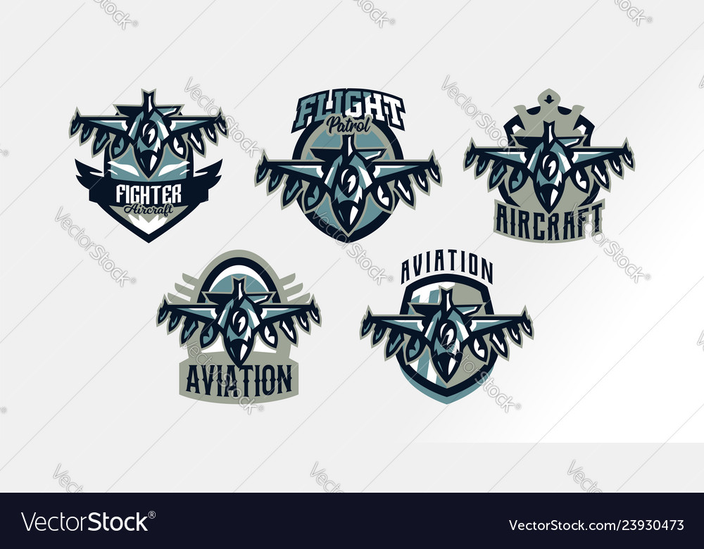A set of colorful logos badges emblems of a