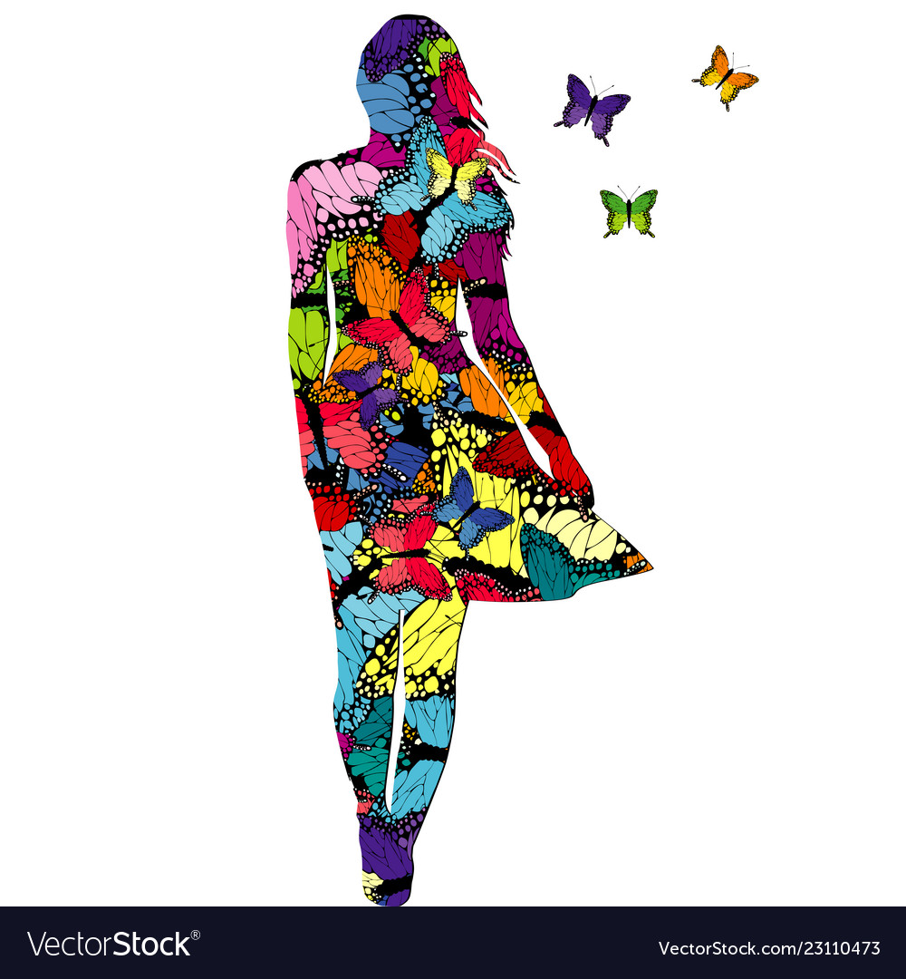 Abstract woman with colored butterflies