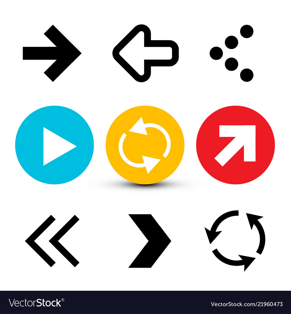 Arrow collection flat arrows set isolated on