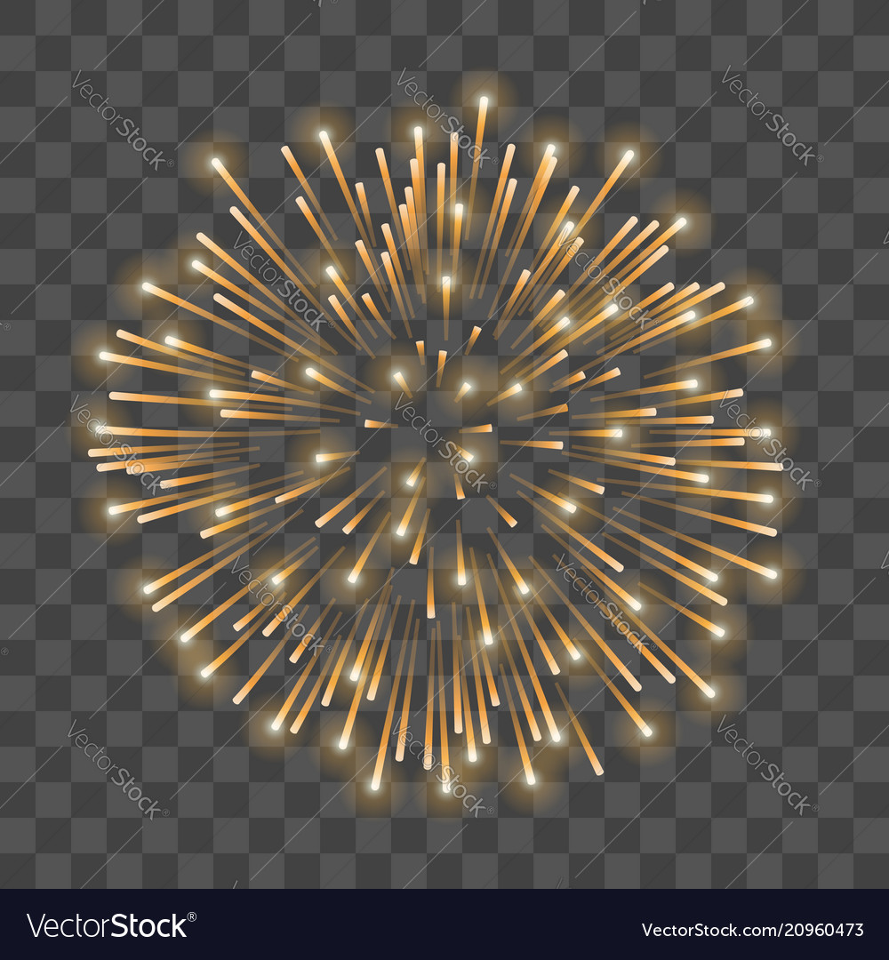 Beautiful gold firework golden salute isolated