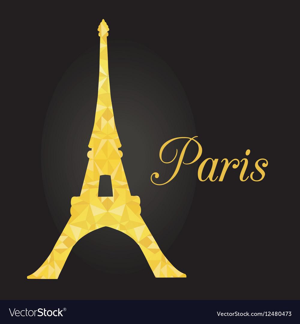 Golden Glowing Eiffel Tower in Paris