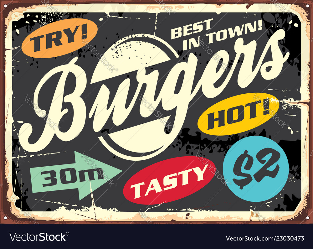 Hamburger retro labels set on old metal sign