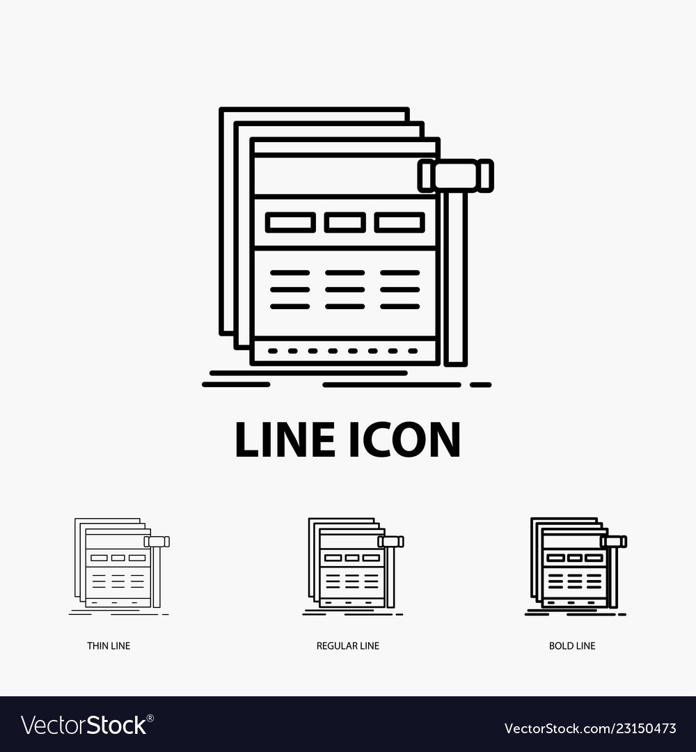 Internet page web webpage wireframe icon in thin