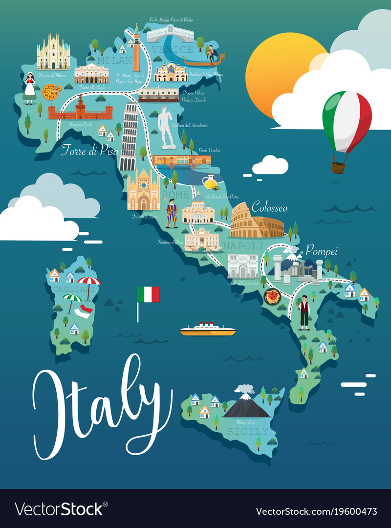Pics Of Italy Map.Italy Map With Attractive Landmarks