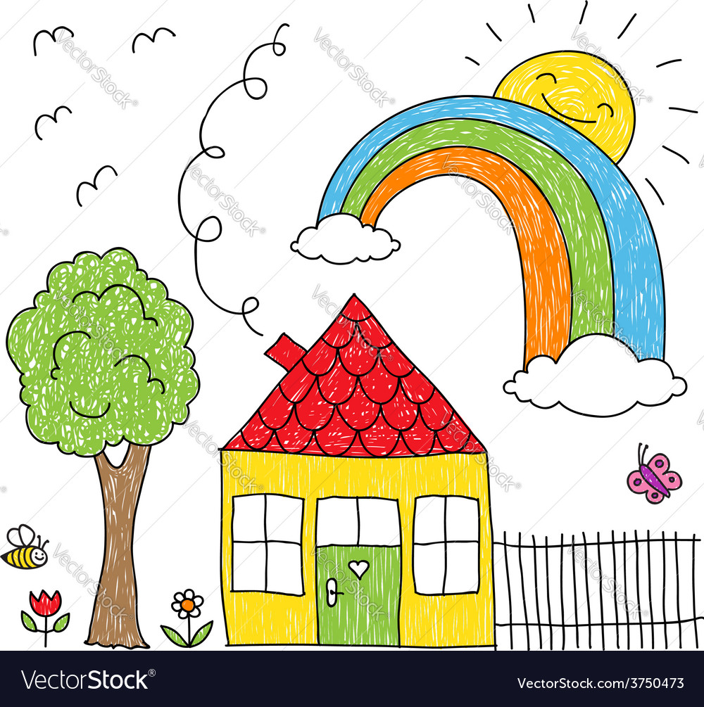 Kid s drawing of a house a tree and a rainbow