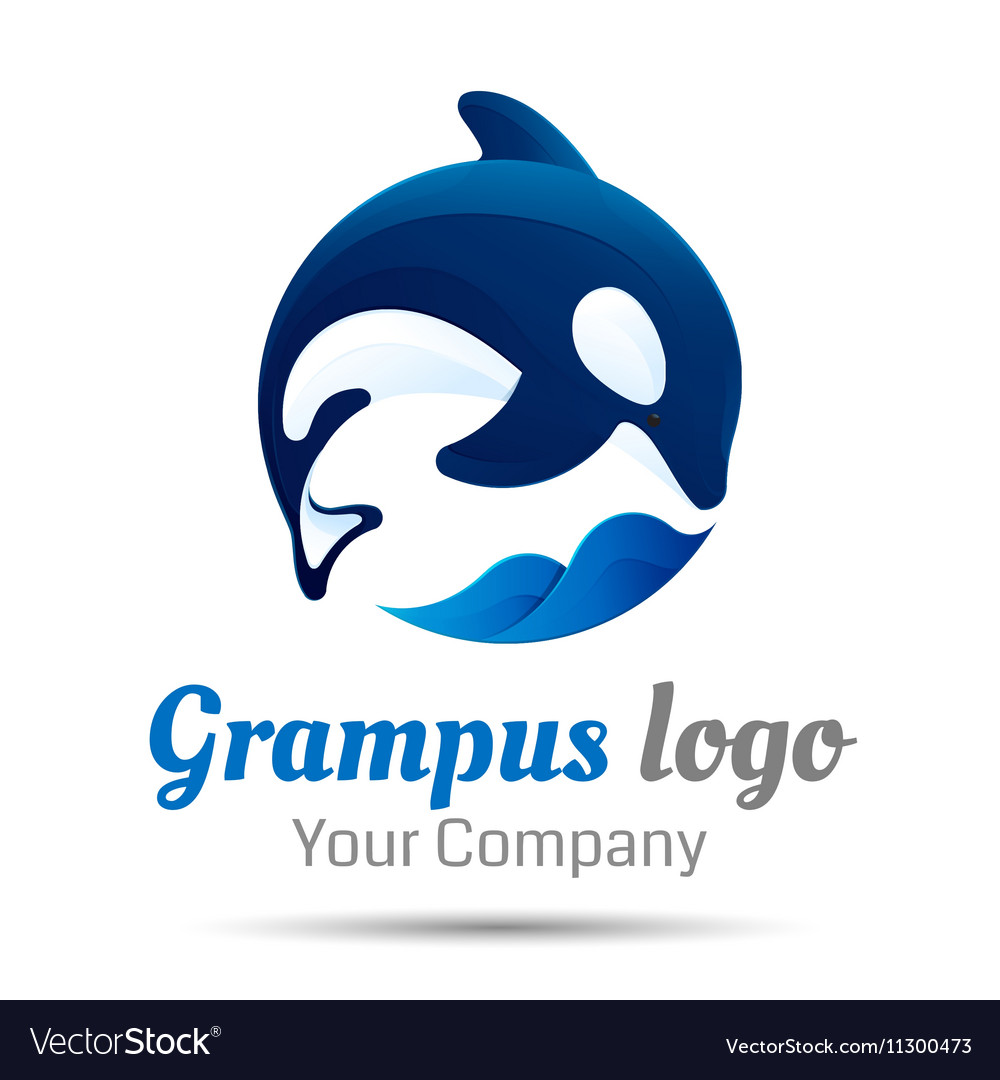 Killer whale Jumping over sea wave logo design vector image