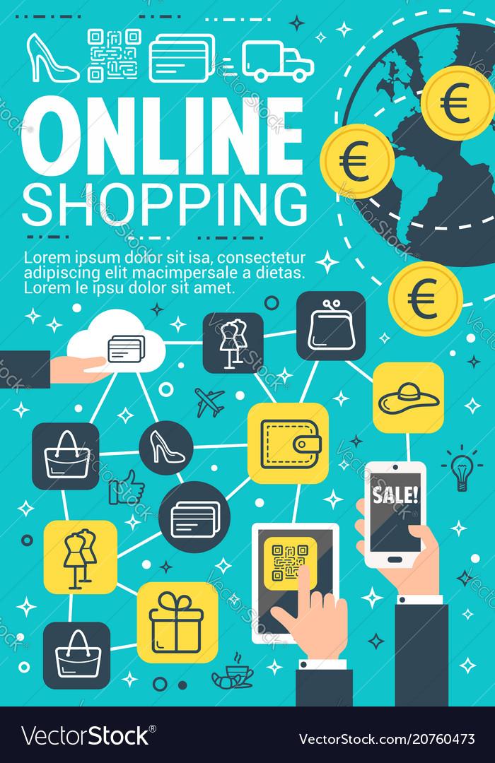 Online Shopping And E Commerce Banner Design Vector Image