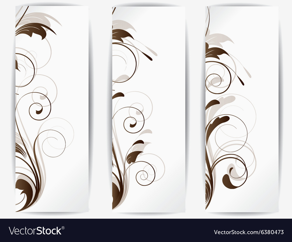 Set of abstract cards with flowers