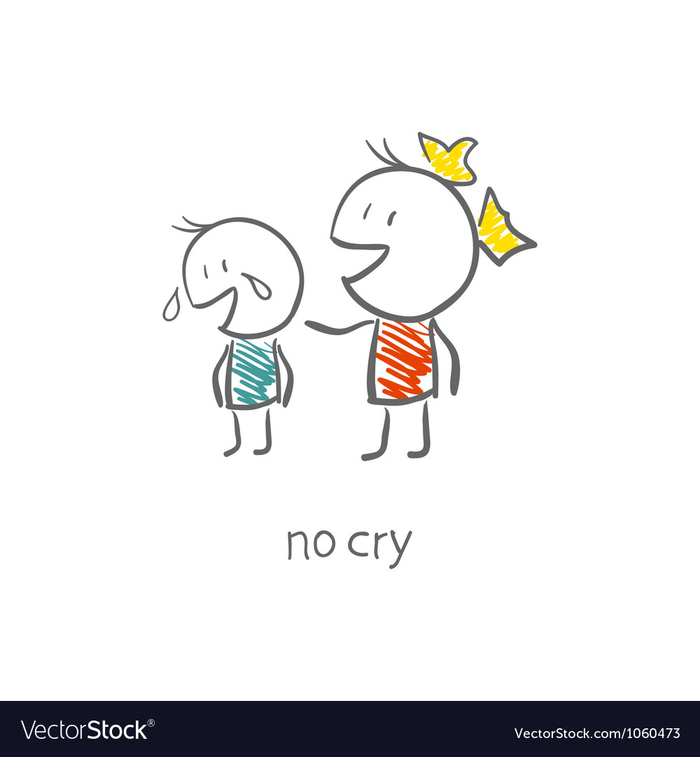The girl comforted the crying boy vector image