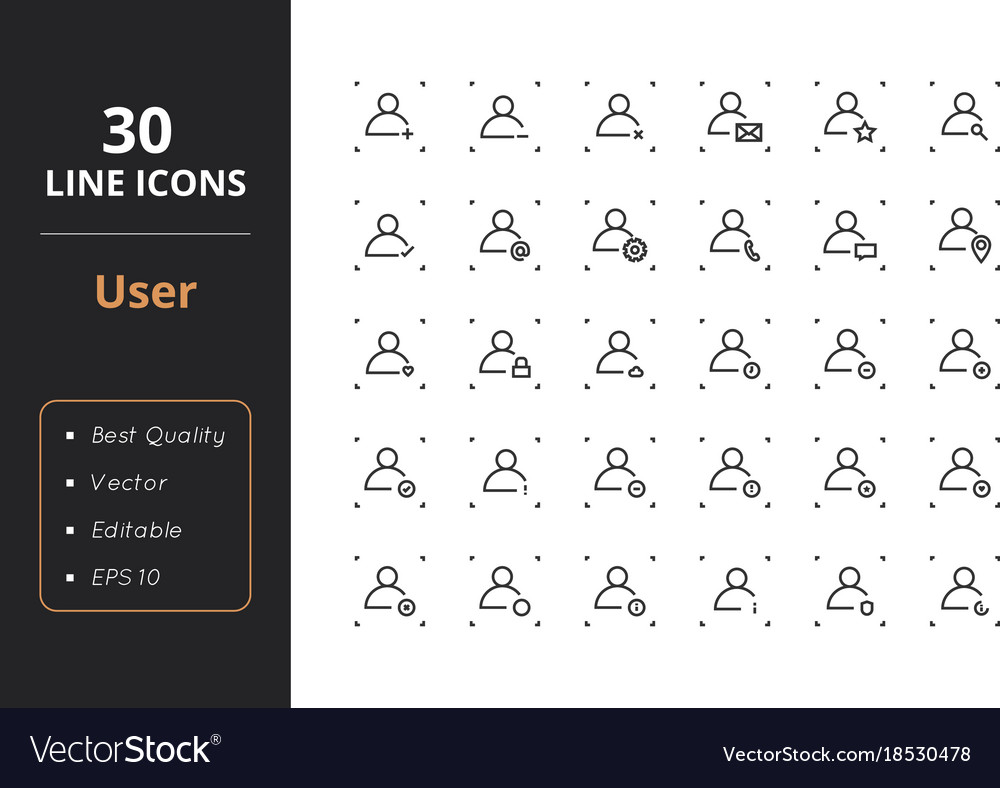 30 user icons vector image