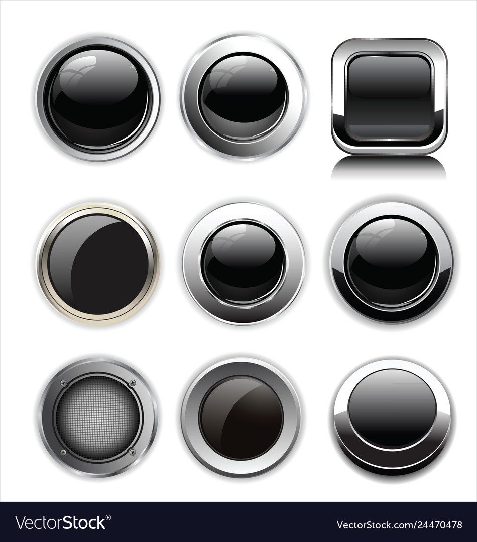 Blank black web buttons