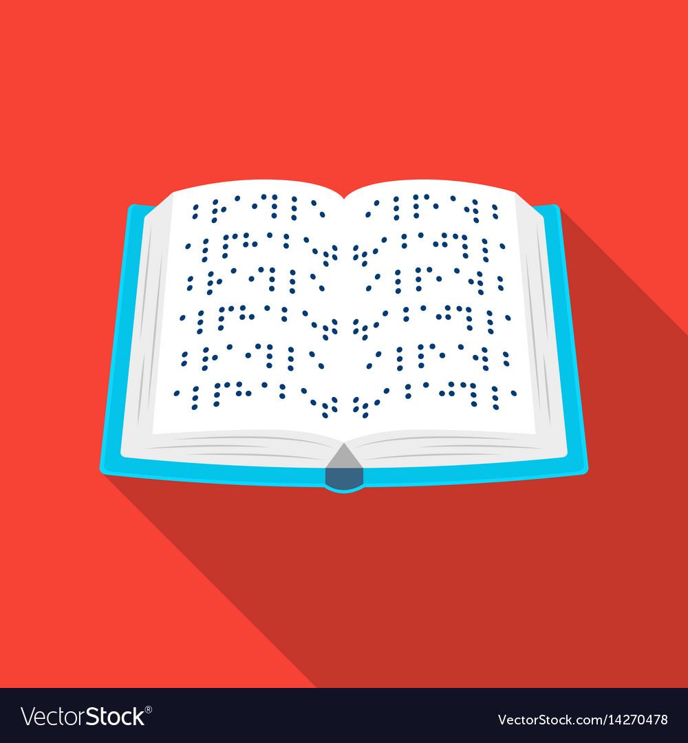 Book written in braille icon in flat style